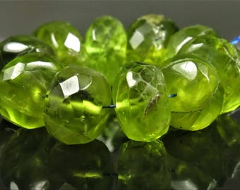 Natural Genuine Peridot Micro-Faceted Rondelle Beads - 6.8mm x 4mm - 10 beads - B7432