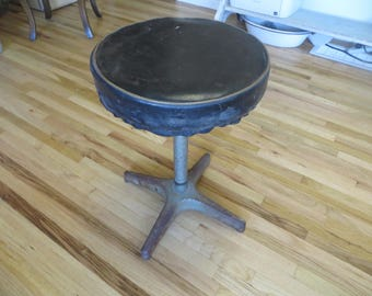 Vintage Black and Chrome Metal Industrial Stool Adjustable Stool Bar Stool Foot Stool