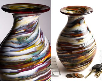 Hand Blown Glass Vase - Bulbous Shape with Earthy Color Streaks