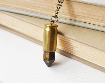 Tiger's Eye Stone Bullet Necklace