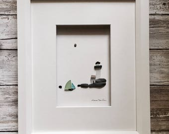 Pebble Art lighthouse 8 by 10 PebbleArt by Sharon Nowlan choice of framed or unframed