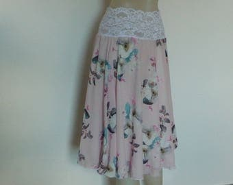 Versatile Slit Chiffon  Circle Skirt European powder Pink Designer Chiffon 2 layered Tango  romantic Jupe  US 4 to 8 Milonga Dance Wear