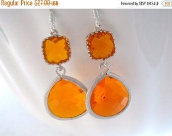 SALE Orange Earrings, Silver Earrings, Tangerine, Carnelian, Glass Earrings, Wedding, Bridesmaid Earrings, Bridal Earrings, Bridesmaid Gifts