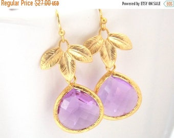 SALE Lavender Earrings, Glass Earrings, Leaf, Lilac, Violet, Purple, Gold, Bridesmaid Earrings, Bridal Earrings Jewelry, Bridesmaid Gifts