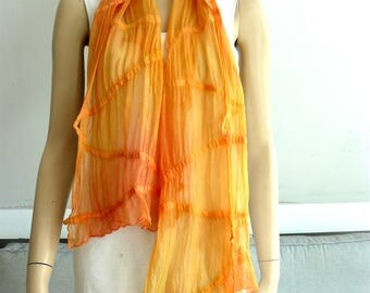 Nuno Felted Scarf merino wool silk Nuno felting shawl orange
