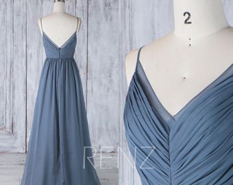 2017 Dark Steel Blue Chiffon Bridesmaid Dress, Spaghetti Straps Wedding Dress, A Line Prom Dress,Ruched V Neck Ball Gown Floor Length (H505)