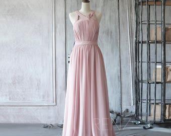 2017 Dusty Rose Long Chiffon Bridesmaid Dress, Dusty Pink Wedding Dress, Maxi Dress, Formal Dress Floor Length (F275)