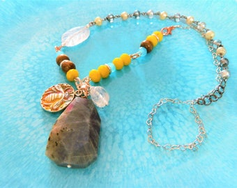 Labradorite chunky pendant Bee Charm Rustic necklace yellow bead brown wooden beads sky blue crystal healing rainbow gemstone clear quartz