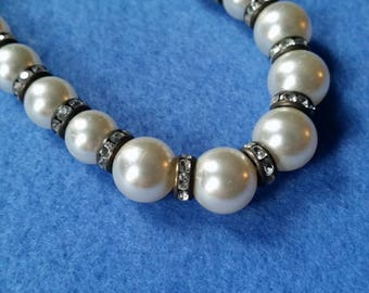 Vintage White Pearl and Rhinestone Rondelle Choker Necklace with Extender, beaded necklace, rhinestone and faux pearl