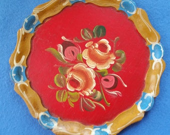 Vintage Handpainted Wood Plate, hand painted wooden plate, roses on red background with yellow and blue border