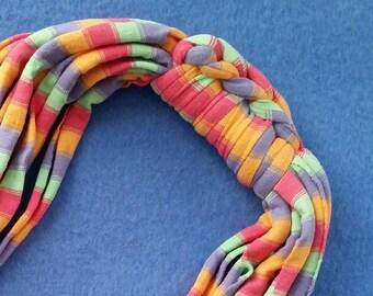 Rainbow Sherbet Recycled T-shirt Fabric Necklace - pastel striped print, upcycled tshirt necklace tarn tshirt yarn, ecofashion