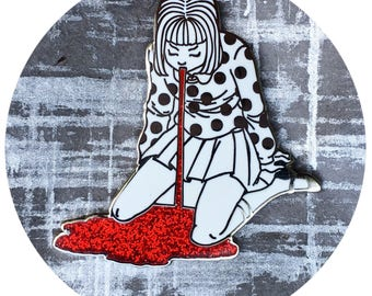 Red Glitter Puking Girl Enamel Pin