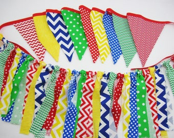 Chevron Classroom Primary Color Fabric Banner or Garland - Sesame Street  Circus  Nursery Room Decor - Red Yellow Blue & Green