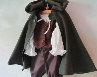 Baby/Kid's Hobbit Costume: Cloak With Attached Hood, Fully Lined Vest, Shirt, Pants - All Cotton - Size 12 Months To 5 Years - Ready To Ship