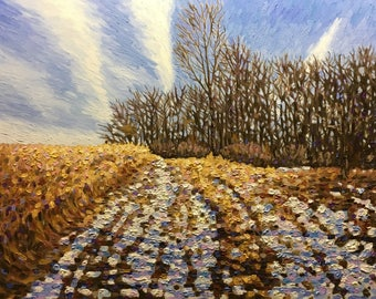 "Original Impressionist Impasto Oil Painting 24x30 ""Stand of Trees"""