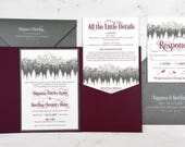 Rocky Mountains Burgundy Wedding Invitation Sample | Flat or Pocket Fold Invite | Ombre Mountain | Trees | Wood | Glitter | Foil