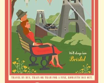 Bristol Greetings Card - Red Advert Suspension Bridge