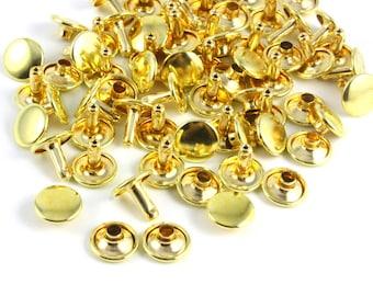 Size: 10*8mm Gold Color Brass Material Double Cap Round Rapid Rivet Punk Leathercraft Rivet 10*8mm [Cap Diameter*Shank length] (TRG-RI10x8)