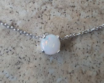 Genuine Opal (October Birthstone) 5mm choker necklace in Sterling Silver or Gold