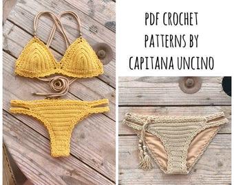 PDF-file for Crochet PATTERN, Marina Crochet Bikini Top and Brazilian Bottom and Basic Bottom, Sizes XS-L, Surfer Bikini, 2 bottoms