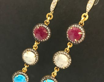 Ruby, Turquoise + Moonstone Earrings, Red White and Blue Coin Drop Earrings, CZ Pave Earrings, Independence Day, 4th of July (E114)