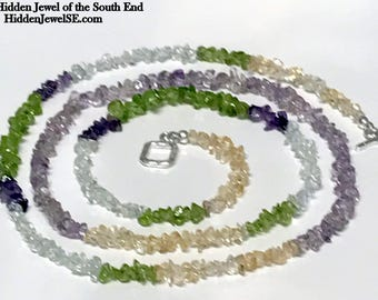 Citrine, Peridot, Amethyst and Quartz Necklace, green, purple, yellow, and white, Sterling Silver toggle, multi colored gemstones (N109)