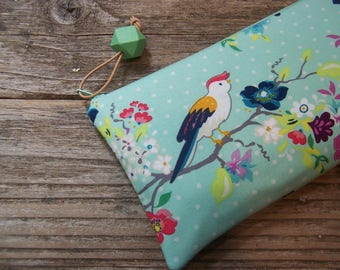 Aqua Blue with bird simple clutch,zipper bag ,pouch,travel bag,pencil case,college kid,project bag,women's gift,cosmetic bag,make up