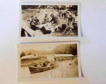 Vintage CAMPING BOATING Photo 1940s - Family on River with Cabins - Outdoors - MJB Coffee
