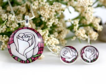 White Rose Jewelry Set - Rose Necklace & Earrings - Stained-Glass Pendant - Gift for Little Girl - White Rose Art Nouveau Charm - Gift