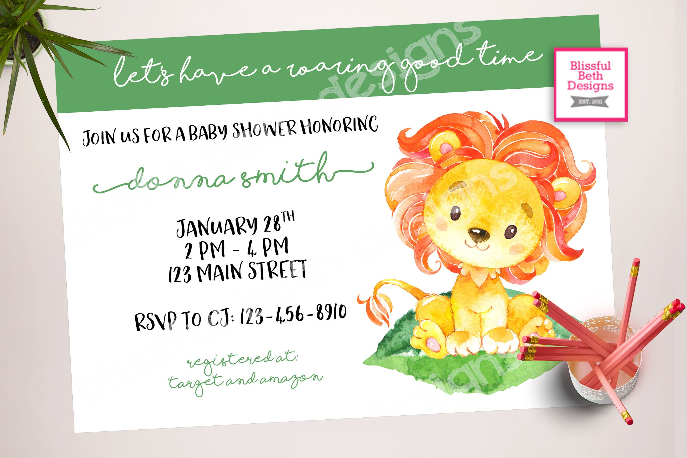 Lion Baby Shower, Roaring Good Time, Lion Baby Shower Invitation ...
