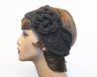 Gray  Headband with Flower Crochet Headband Charcoal Head Band with Flower Dark Grey knit Headband Dark Gray Headwrap  Dark Gray Ear Warmer