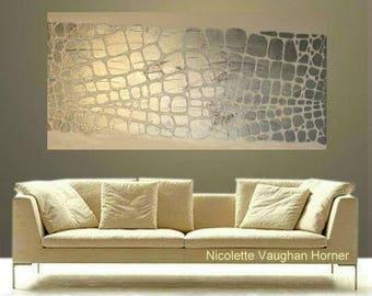 "XLarge silver glitter metallic Oil Landscape Abstract Original 48"" palette knife oil  impasto oil painting by Nicolette Vaughan Horner"