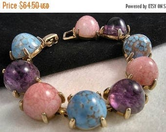 On Sale Vintage Estate Easter Egg Glass Cabochon Chunky Bracelet - 1950's 1960's Collectible High End Jewelry