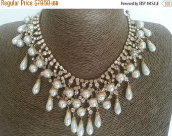 Now On Sale Bridal Wedding Bib Necklace, Vintage Statement Necklace, Juliana Style Runway Crystal Jewelry, 1960's Old Hollywood Glam Style