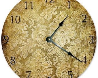 "10.5"" RUSTIC FLORAL PATTERN Clock - Living Room Clock - Large 10.5"" Wall Clock - Home Décor Clock - 5867"