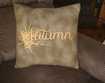 Autumn Fall Throw Pillow Cover Leaf Autumn Throw Pillow Thanksgiving Fall Throw Pillow  16 BY 16 Size Grannies Embroidery