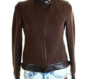 Vintage 90s Y&L Collection Brown Wool Blend Biker Jacket UK 8 US 6