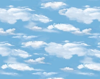 20 % off thru 7/4 OH DEER! medium blue sky clouds white cotton print by the 1/2 yard Wilmington fabric-30164-441