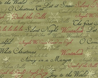 12% off thru July MIDNIGHT CLEAR Christmas words on green 3 sisters Moda fabric 44114-16 by the yard