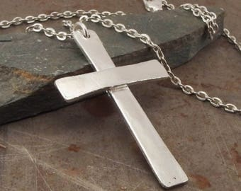 Traditional Christian Cross Sterling Silver Pendant Necklace Handmade in Lightly Textured  for Men or Women