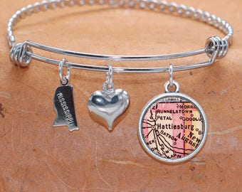 Hattiesburg MS Map Charm Bracelet State of Mississippi Bangle Cuff Bracelet Vintage Map Jewelry Stainless Steel Bracelet Gifts For Her