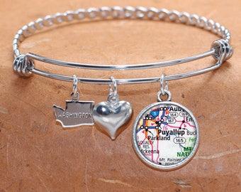 Puyallup WA Map Charm Bracelet State of Washington Bangle Cuff Bracelet Vintage Map Jewelry Stainless Steel Bracelet