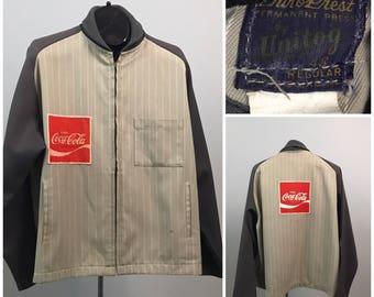 Vintage 1950s Gray Gabardine Pin Stripe Coca Cola Ricky Style Work Jacket / Men's XL / 50s Shawl Collar Rockabilly Workwear Unitog