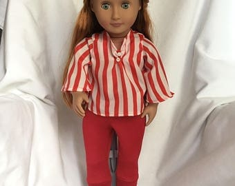 "18"" Doll Red and White Leggings and Top"