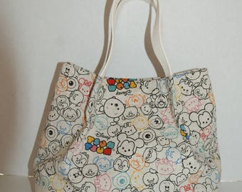 """Mini Gathered Tote Bag Made with Japanese Cotton Linen Fabric with Solid Bottom with Interior Pocket Made with """"Tsum Tsum - Cotton Linen #2"""""""