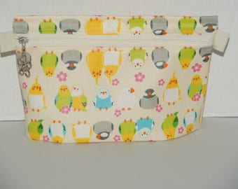"""Waterproof Zipper Pouch with Hidden Gusset Made with Japanese Laminated Cotton Fabric """"Love Birds and Sakura"""""""