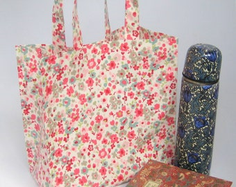 Oilcloth Tote Bag - Pretty Pink Flowers, Shopping Bag, Medium PVC Bag, Lunch Bag
