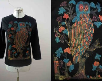 Green Russian Owl Woodcut Print T shirt Unisex Small