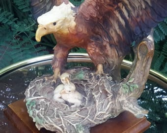 """Giuseppe Armani Sculpture Bald Eagle With Eaglets On Nest Heavy Resin/Concrete Mix 16"""" Tall"""