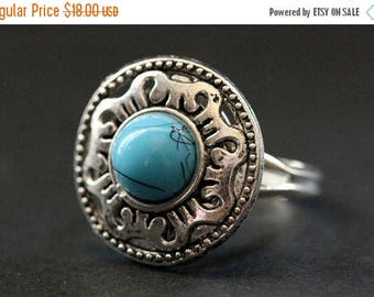 BACK to SCHOOL SALE Mediterranean Mandala Ring. Turquoise and Silver Mandala Ring. Button Ring. Adjustable Ring. Handmade Jewelry.